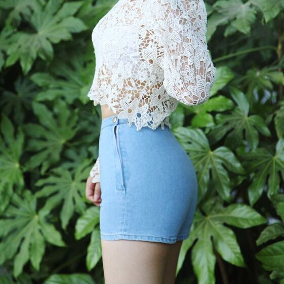 White Denim Jeans Shorts Booty High Waist Mini femme Sexy skinny vintage retro black for women ladies female summer 2015