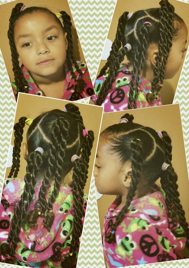 Mixed Natural Black Girls Kids Hair Rope Braid Pretty Easy