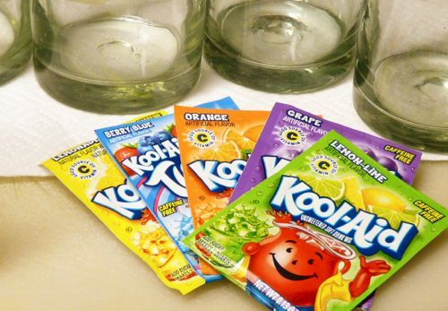 Kool-Aid to dye your Easter Eggs:  dissolved 1 envelope of Kool-Aid in one cup of water