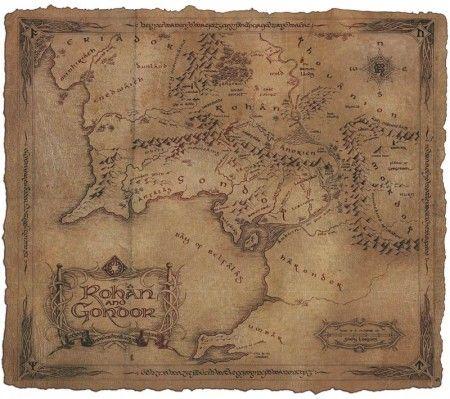 Poster affiche Le Seigneur des Anneaux Carte Rohan Gondor 2                                                                                                                                                                                 Plus