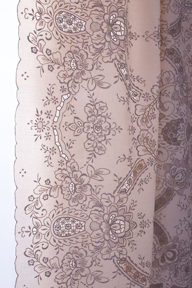 Hand embroidery large size linen Vintage tablecloth