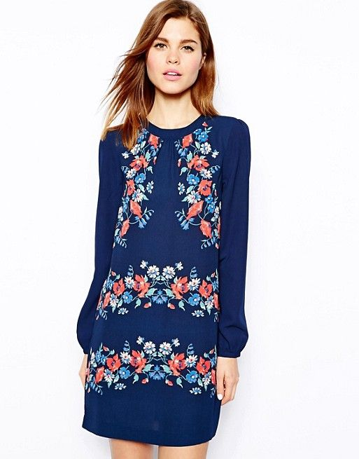 Warehouse | Warehouse Stripe Floral Shift Dress