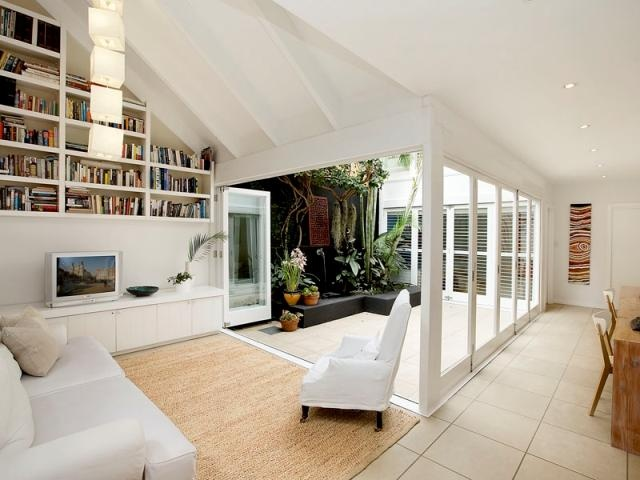 too much white, but really, who can resist? indoor courtyard