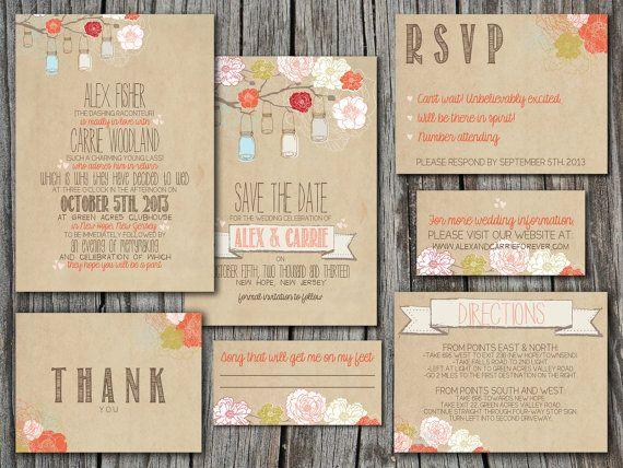 wedding invitation suite set printable custom diy rustic kraft paper