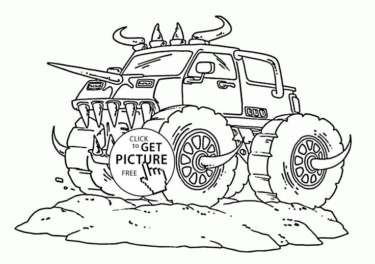 Real Monster Truck With Horns Coloring Page For Kids