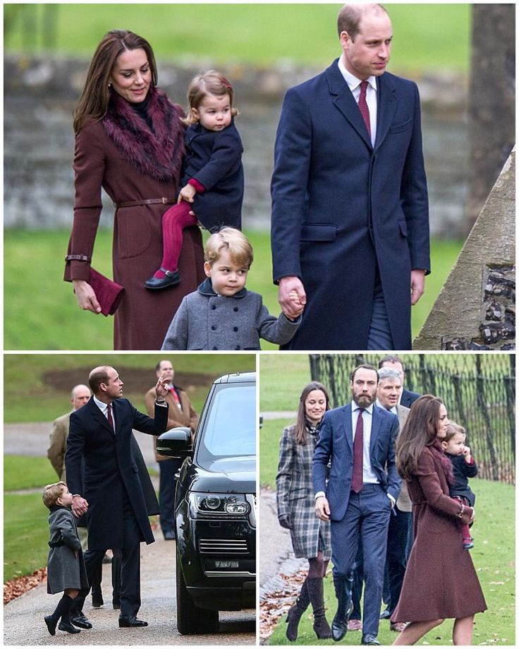 The Cambridges and the Middletons attending St Mark's Church service this morning. Above you can see Kate's siblings Pippa and James with their father Michael. Kate is wearing her Hobbs 'Celeste' coat for the fifth time with her Tod's fringed pumps she debuted in Canada this year. She's carrying her Mulberry Bayswater clutch.