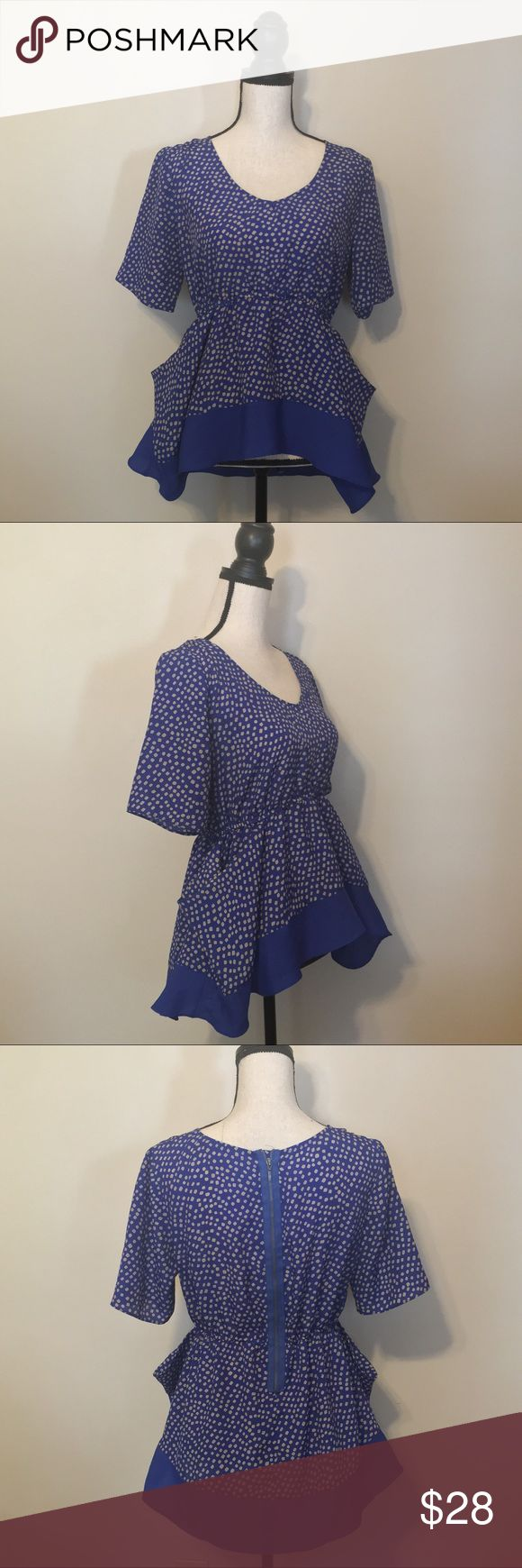 BCBGeneration Blue and Gold Dotted Top BCBGeneration Blue and Gold Dotted Top BCBGeneration Tops Blouses