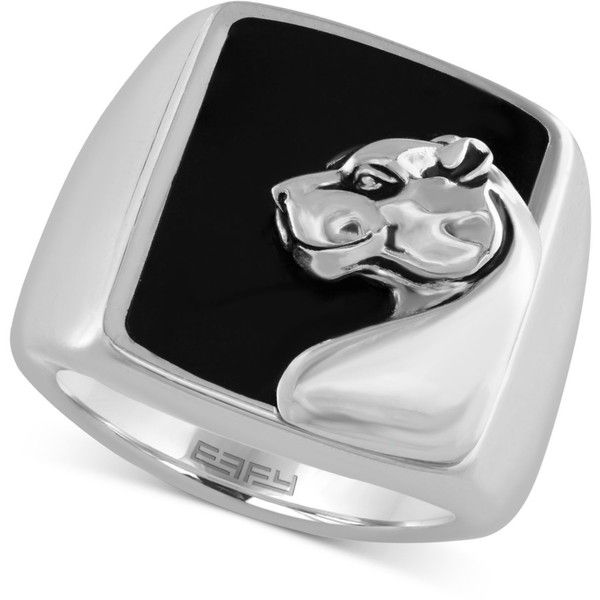Gento by Effy Men's Onyx (7-9/10 ct.t.w.) Panther Head Ring in... ($600) ❤ liked on Polyvore featuring men's fashion, men's jewelry, men's rings, silver, mens onyx ring, mens sterling silver rings, mens watches jewelry, mens rings and mens sterling silver black onyx rings