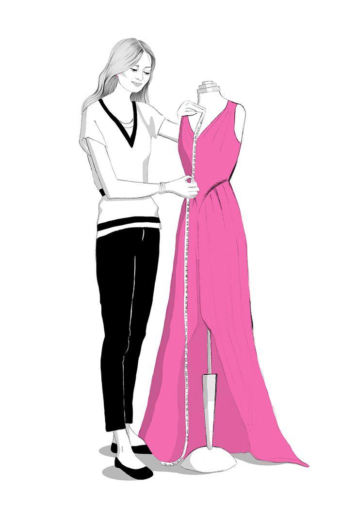 Dress maker fashion illustration by illustrator Kelly Thompson for Four Seasons recruitment London www.kellythompsoncreative.com
