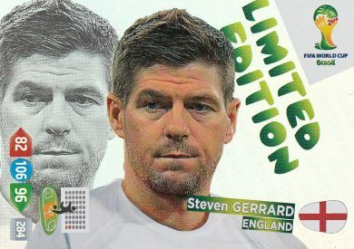 Steven Gerrard Portrait Limited Edition - Panini Adrenalyn XL FIFA World Cup Brazil 2014 Trading Card