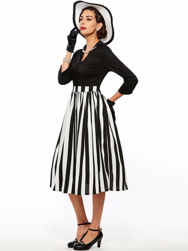 Sisjuly women vintage dress black striped party dress patchwork retro 1950s women dress vestido de festa elegant vintage dress