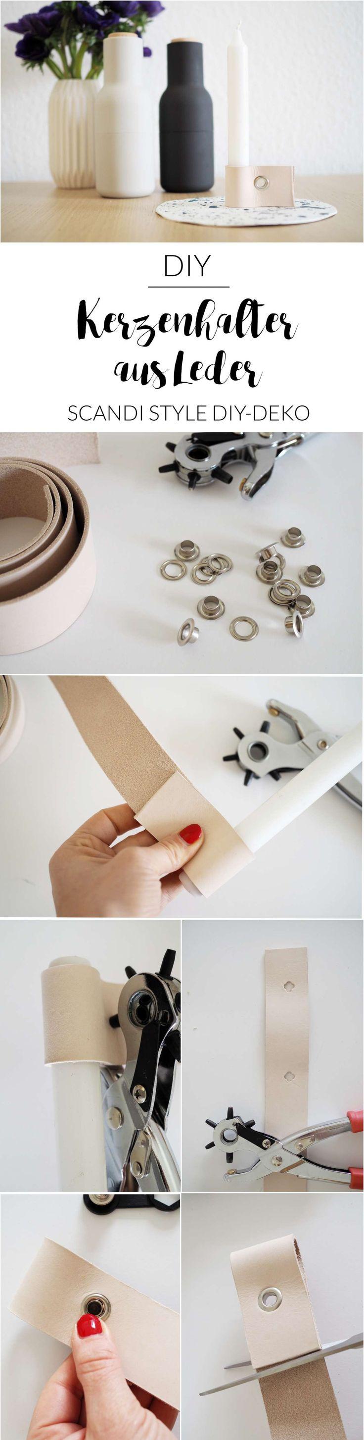 Scandi Look: DIY-Kerzenhalter aus Leder mit passendem Tablett / Teller aus Modelliermasse | Teelichthalter | Kerzenständer selber machen | DIY mit Leder | Deko selber machen | Scandi Trend | Scandinavian Design | Geschenke selber machen | selbstgemacht | paulsvera