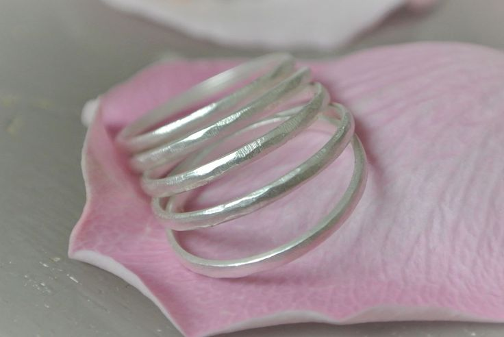 Hammered Ring Silver 5pcs - HeidisHoff.no