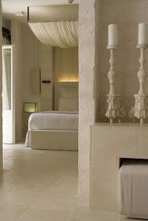 palest marble bedroom...candle holder love