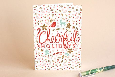 Cheerful Pretty Self-Launch Holiday Cards by Phrosné Ras at minted.com