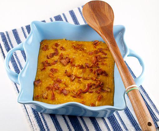 Creamy pumpkin polenta with bacon on top!