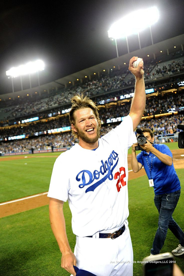 Clayton Kershaw holding his no hitter ball