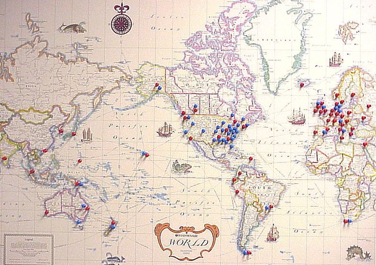 A Massive World Map For Your Wall With Pins In The