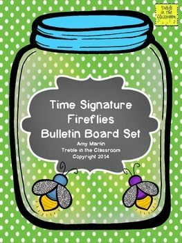 Time signature identification bulletin board set help students id 2/4, 3/4, 4/4, 5/4, 3/8, 6/8, and 2/2
