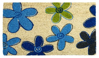 Limpiapiés Flores Azul. Visítanos en tuakiti.com #limpiapies #alfombra #carpet #decoracion #homedecor #hogar #home #flor #flower #tuakiti