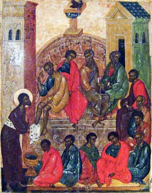 Pskov School of iconography Maundy Thursday (Jesus washes the feet of the Disciples) Russia (c. 1300s) tempera on wood panel One of the oft-used methods to erase people of color among western art historians is to claim, especially with respect to  older religious icons, that the dark skin of the biblical figures is due to age, smoke, or wear and tear. This flies in the face of logic