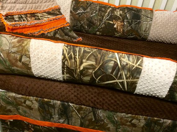 Custom baby bedding-4 pc Real Tree and Max 5 Camo baby bedding with brown minky and orange trim