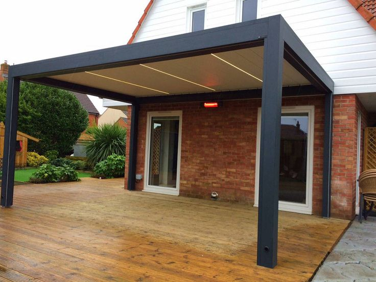 Browse images of Modern Garden designs: Outdoor Living Pod, Louvered Roof Patio Canopy Installation in Weston-Super-Mare. . Find…