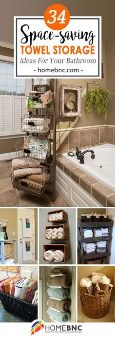 Towel Storage Decor Ideas that make you think....for sure want the open box shelf over every door, well bath and bedrooms, and utility room