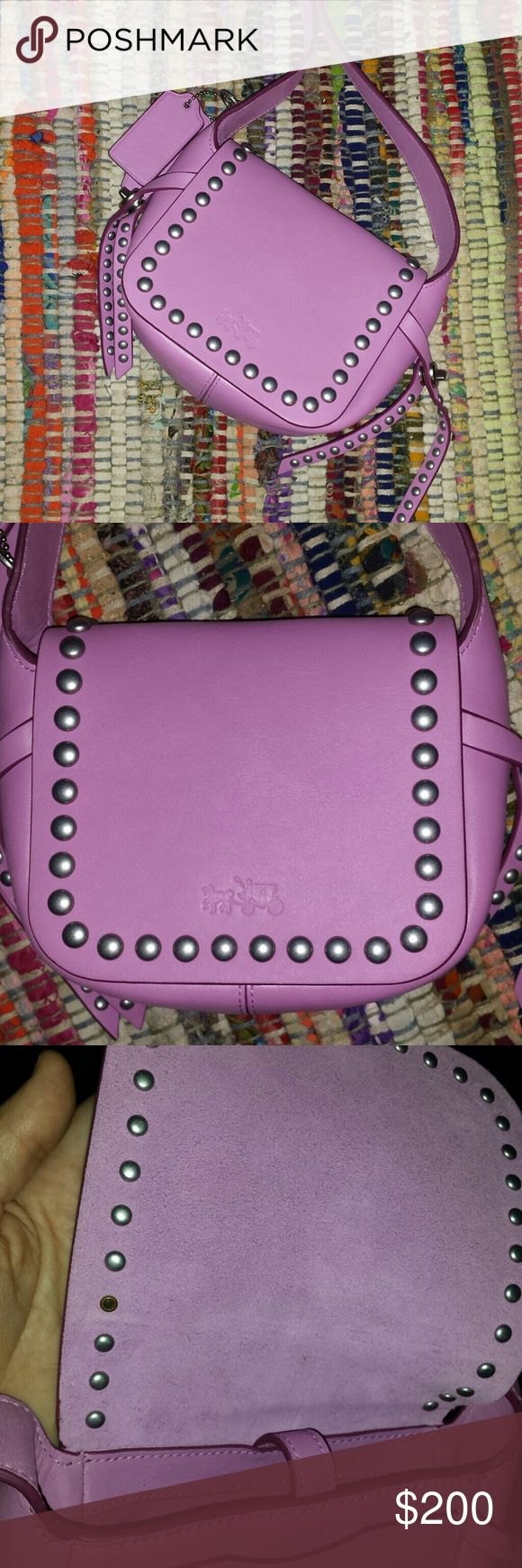 """COACH - Rivet Dakotah studded crossbody in Puce . COACH - Rivet Dakotah studded crossbody in Puce 14 calf leather crossbody bag.  No tags. Authentic. Like new condition.  No dustbag . No scratches or scuffs.  Only defect is the back of stud missing (see photo 3 ) Smoke free home.  Bag depth-2.25"""" Bag length-7"""" Strap Drop -23"""" Bag height 5.5"""" No lowballs. Coach Bags Crossbody Bags"""