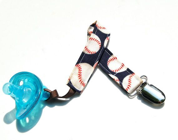 Soothie Pacifier Clips - Baseball - Gumdrop Nuk Mam Avent - Baby Boy Sport Clip on Etsy, $5.99