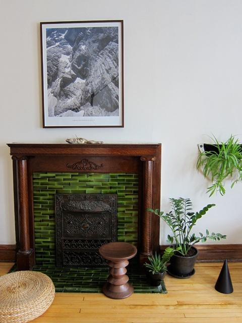 use left over kitchen backsplash tile on the fireplace too much