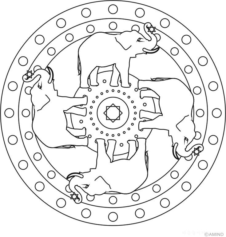 Free mandalas coloring > Animal Mandalas > Animal Mandala Design 3 - Elephant