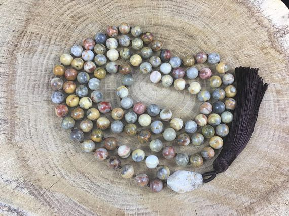 DIVINE 108 Mala Bead Top Quality Flower Agate Meditation