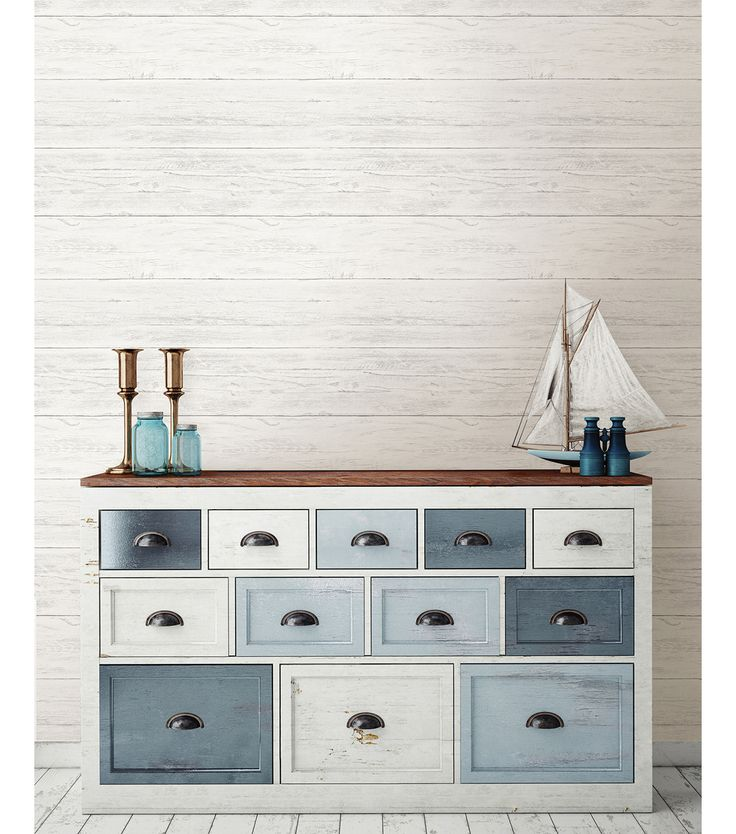 Love the varied colored drawers! WallPops® NuWallpaper™ Shiplap Peel and Stick Wallpaper