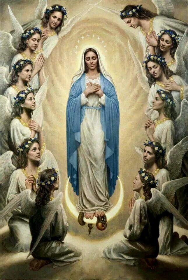"""""""Sois Vós a Mulher, anunciada aos Demônios, como sua eterna Inimiga"""" (Hino """"O Prima Virgo"""", da Véspera da Assunção)."""