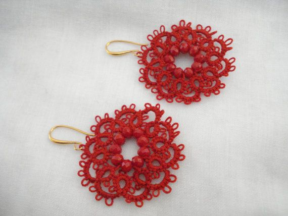 Red lace flower earrings Tatting lace earrings Needle by Poppyg