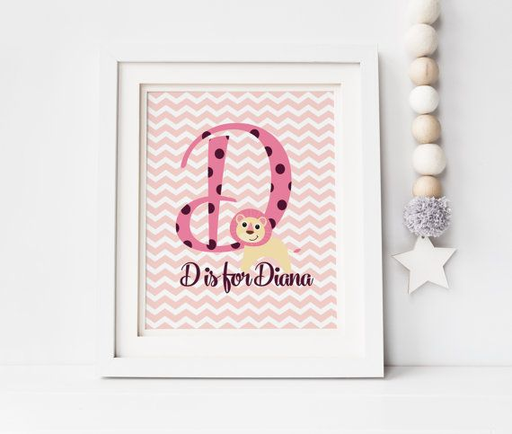 Letter Monogram Nursery Wall Art Custom Baby by SoulStudioPrints