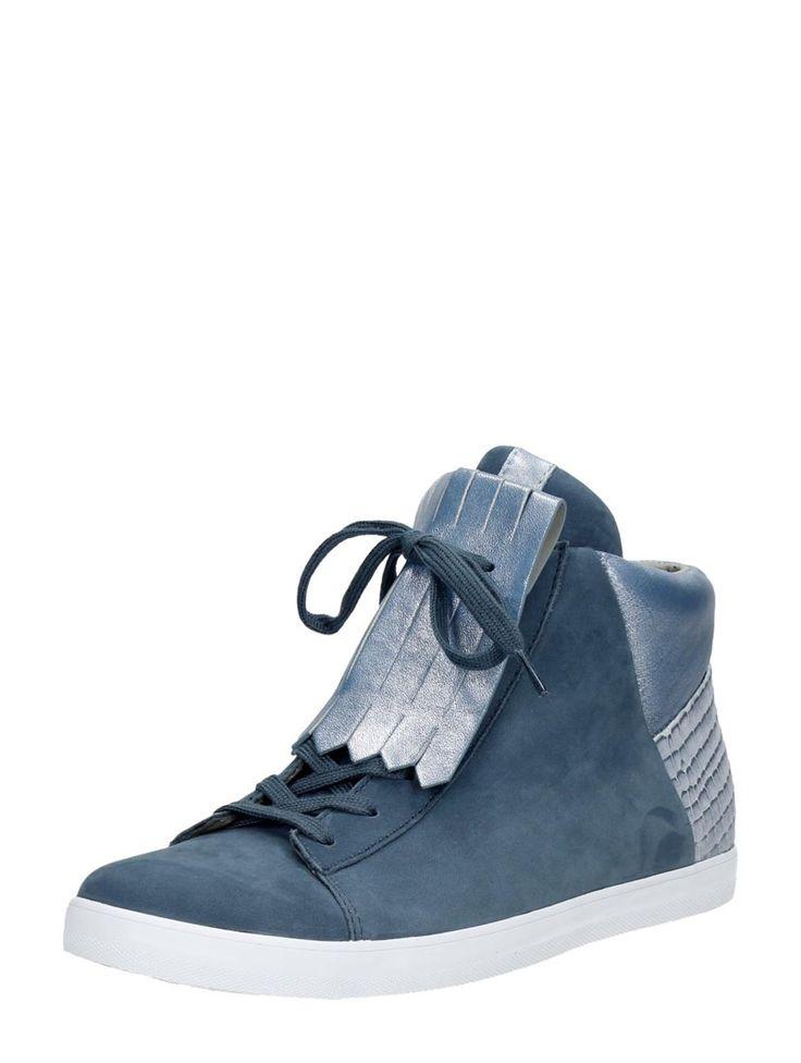 Gabor hoge dames veterschoenen met Jamboreeklep (kan ook zonder jamboreeklep gedragen worden!) - blauw