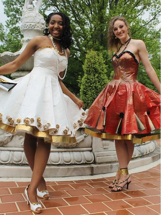 Alese & Victoria, 2014 Stuck at Prom Top 10 finalist http://stuckatprom.com/?utm_campaign=stuck-at-prom-general&utm_medium=social&utm_source=pinterest.com&utm_content=duct-tape-prom-fashion