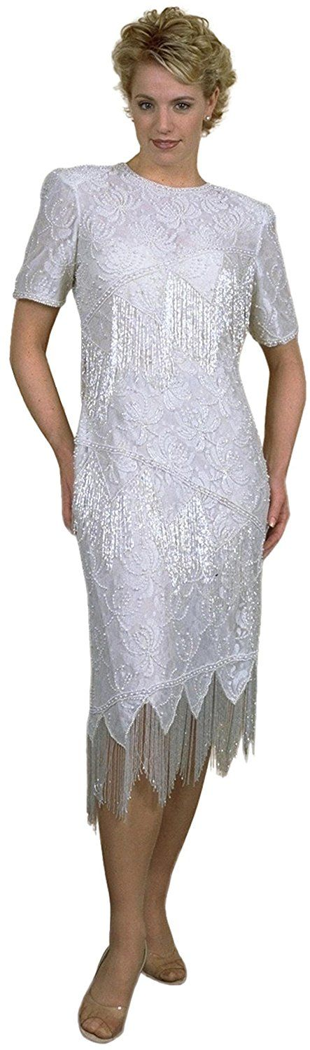 Roaring 20's Heavy Beading Flapper Blk or Off White Missy and Plus Sizes >> Stop everything and read more details here! : Plus size dresses