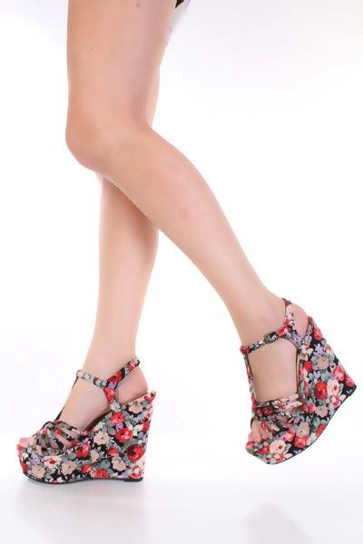 Black Floral Print Fabric T Strap Open Toe Platform Wedges ...