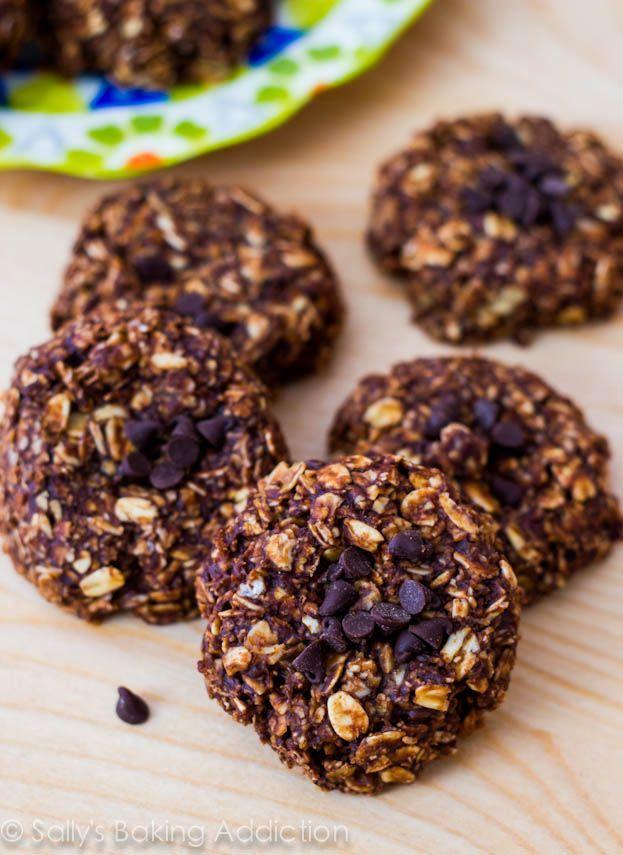 Skinny Chocolate Peanut Butter No Bake Cookies by sallysbakingaddiction.com