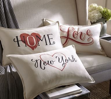 Sentiment Ivory Lumbar Pillow Cover #potterybarn    Love this HOME pillow!!