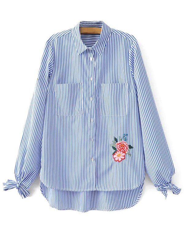 $21.99 Floral Embroidered Tied Striped Shirt - STRIPE S