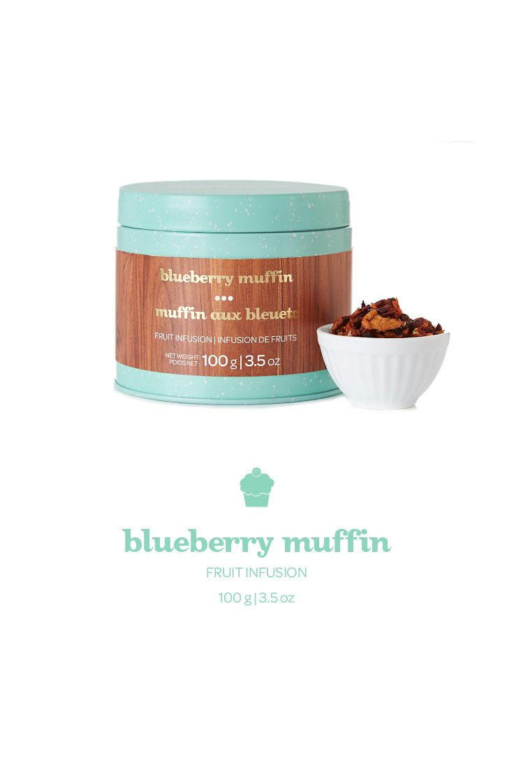 Blueberry Muffin tea collectible tin | $17 With apple, raisins, carrot and blueberries, this tea is the breakfast of champions.