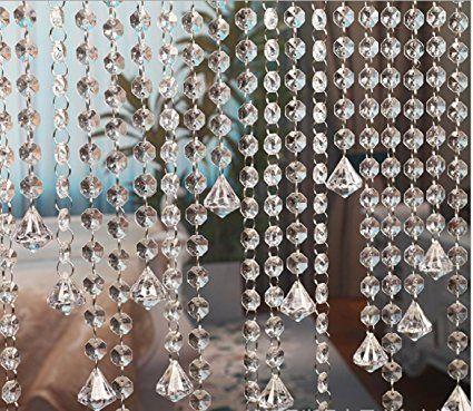 10m tenda della porta acrilico cristallo ghirlanda perline Octagonal Garland tende appesi ciondolo decorazione del partito di nozze decorazione fai da te con diamante acrilico