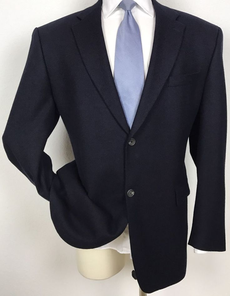 RALPH LAUREN Wool & Cashmere Navy Blue Blazer Sport Coat Jacket 46L #RalphLauren #TwoButton