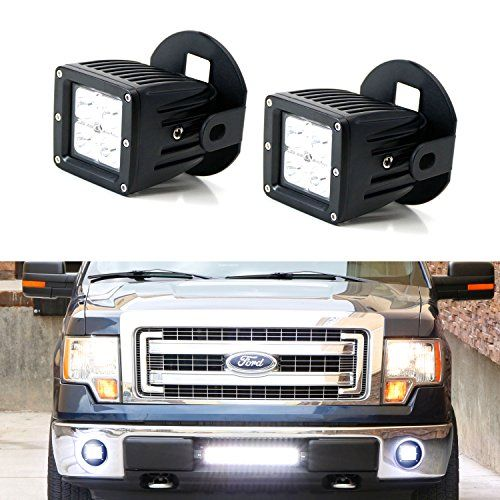 iJDMTOY Complete 40W High Power CREE LED Fog Light Kit w/ Foglamp Location Mounting Brackets, Wiring For 2006-2014 Ford F-150, 2011-2014 Lincoln Mark LT.