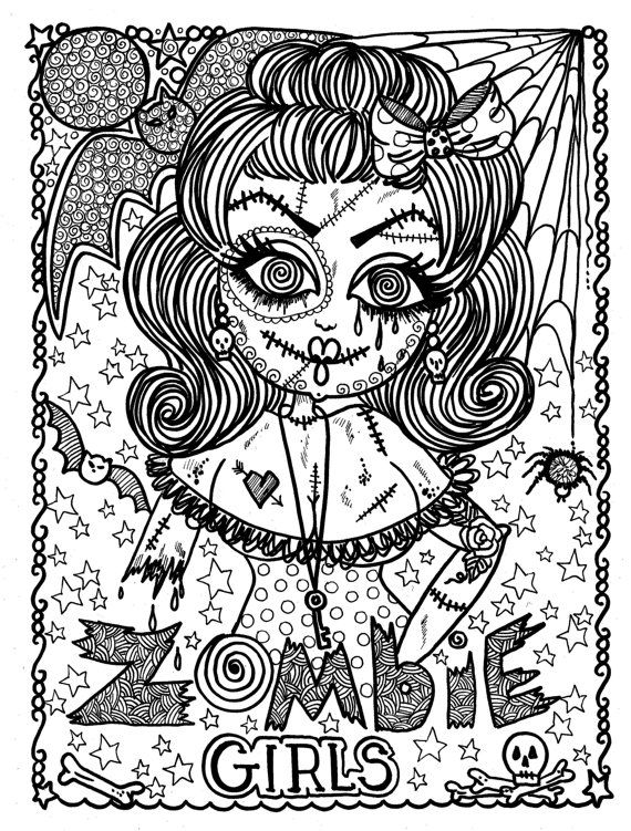 Zombie Girls Coloring Book Page Halloween Fantasy Fantasie Fantasia Fantasi Colouring Adult Detailed Advanced Printable