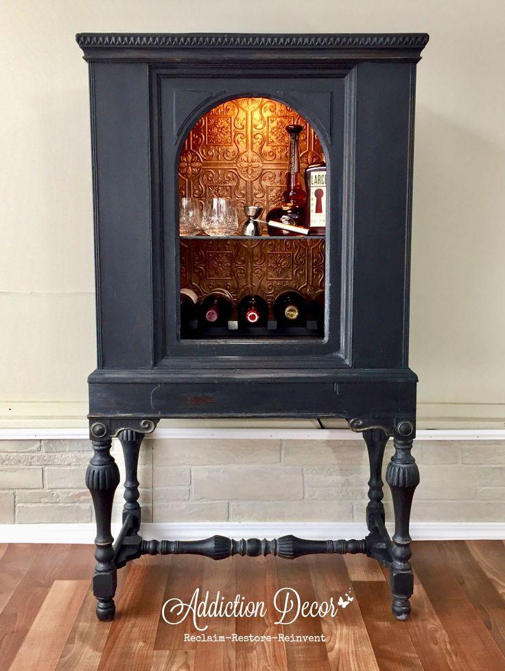 Repurposed Radio Cabinet Bar by Addiction Decor